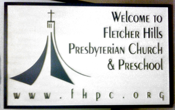 D13112 - Sandblasted, Carved HDU (Wood Available) Welcome Sign for Presbyterian Church and Preschool with Website and Church with Cross