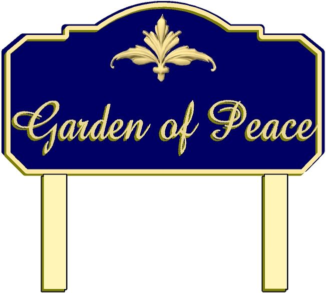 GC16365 - Carved Cemetery Garden Identification Sign with Gold-leaf Gilding