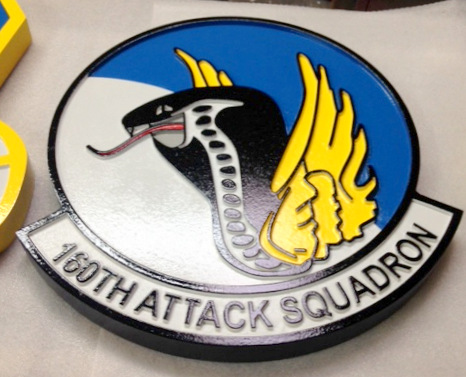 LP-2460 - Carved Round Plaque of the Crest of the 160th Attack Squadron,  Artist Painted