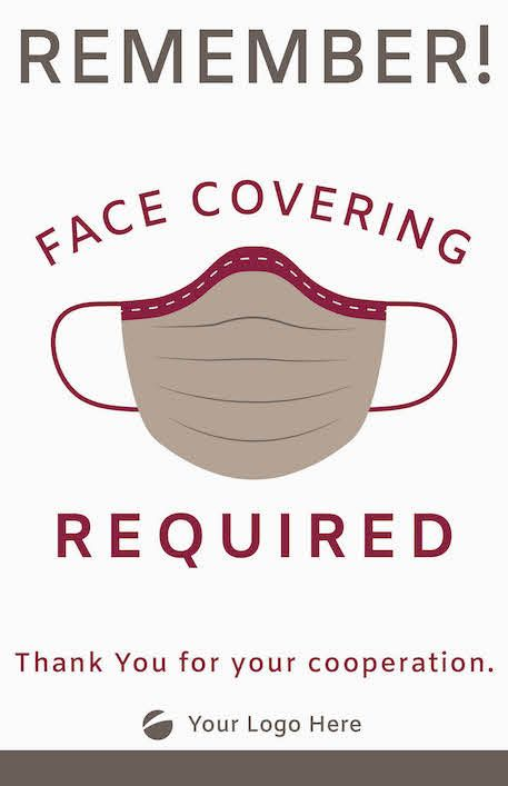 Face Covering Signage - Maroon/Grey