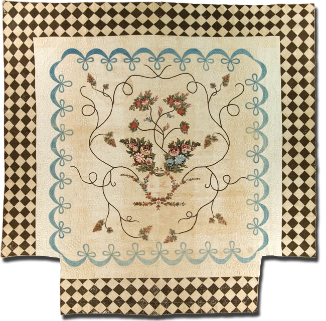 Medallion with pieced border, Inscribed Eliza Thompson, Possibly made in South Carolina or Virginia, United States, Dated 1809, 101 x 101 in, IQSC 1997.007.0257
