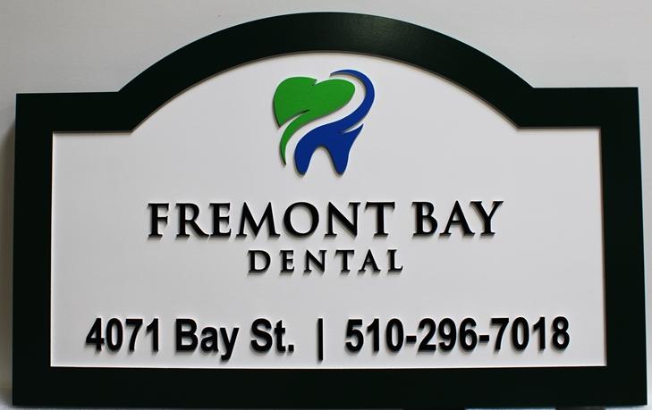 """BA11611 - Carved HDU Sign for the Office of """"Fremont Bay Dental"""""""