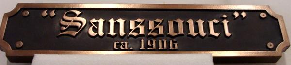 MA1280 - Sanssouci Restaurant Plaque, 2.5-D