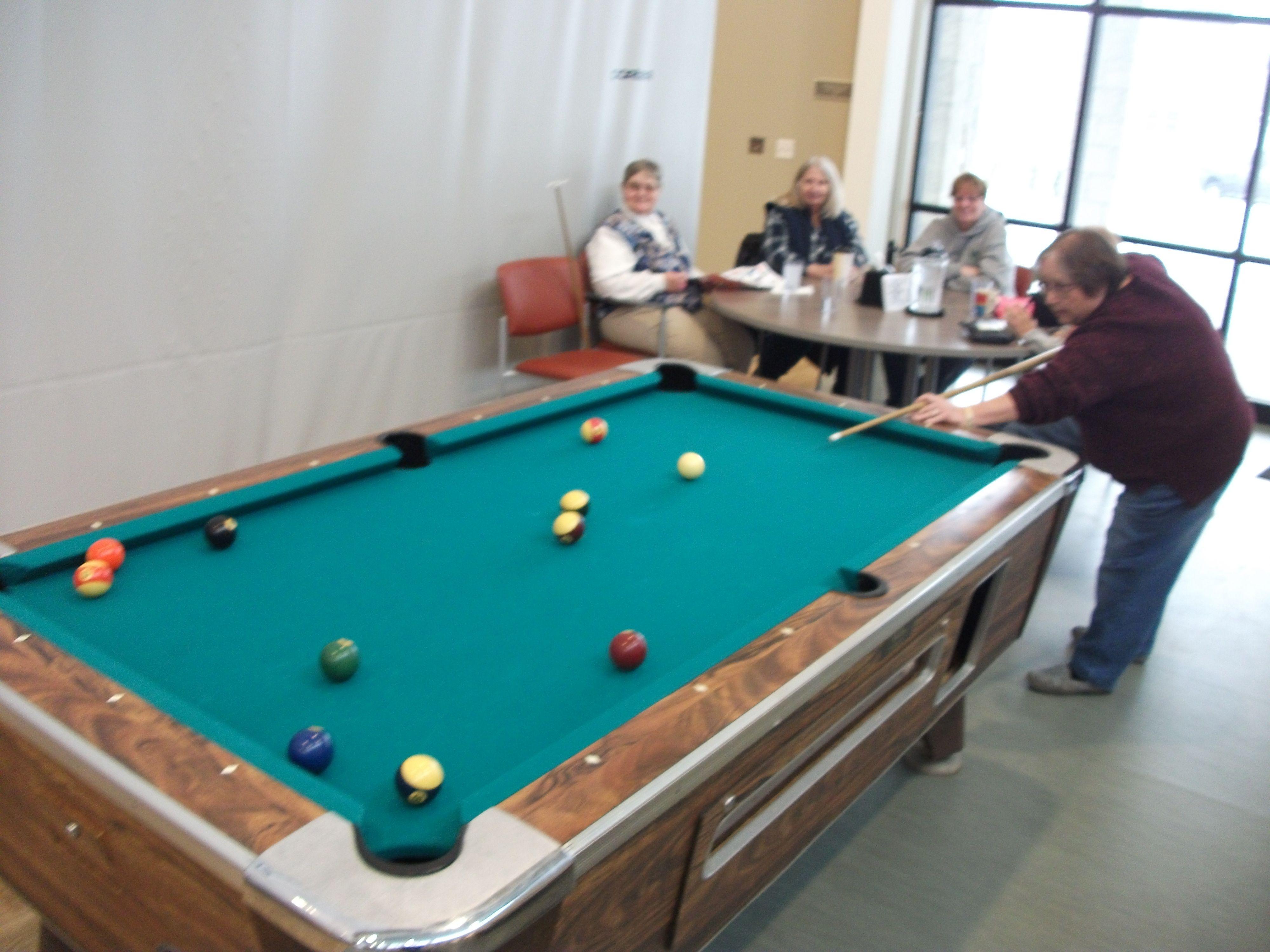 Pool game in progress
