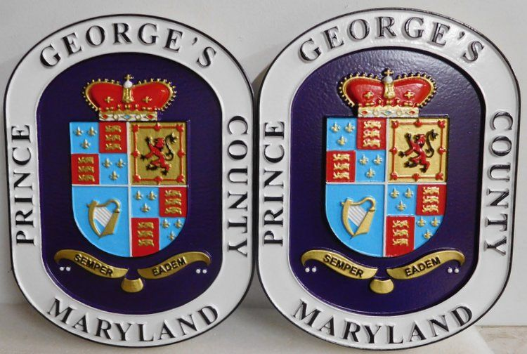 X33371 - Carved Wood Wall Plaques of the Seal of Prince George's County, Maryland