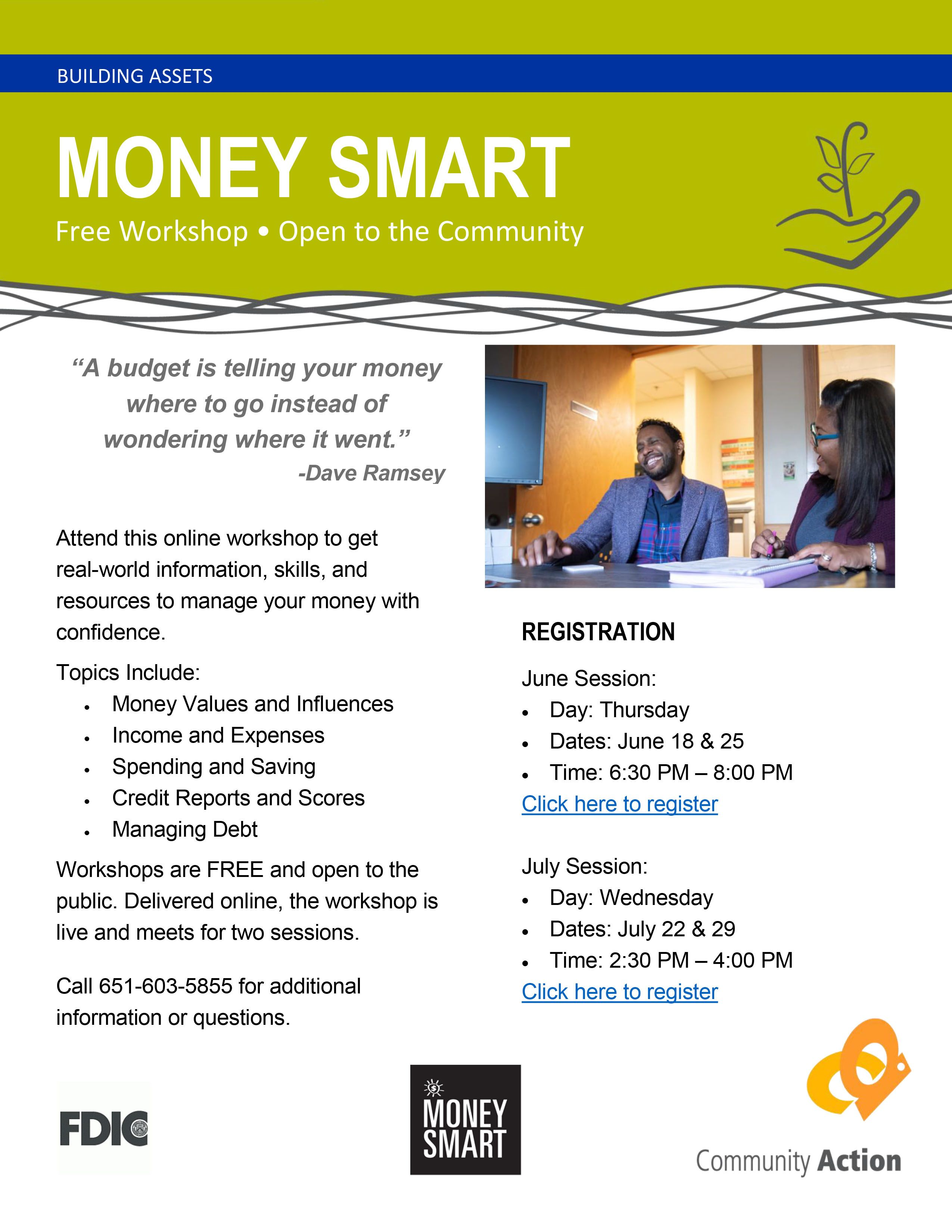 Money Smart Workshops Offered in June and July