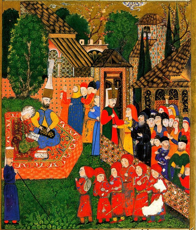 Illustration of an Ottoman official and his assistant registering Christian boys for the devşirme. Ali Amir Beg (fl. 1558) - Süleymannâme, Istanbul, Topkapi Palace Museum Janissary Recruitment in the Balkans