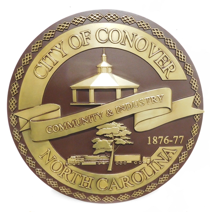 DP-1322 - Carved Plaque of the Seal of the City of Conover,  North Carolina