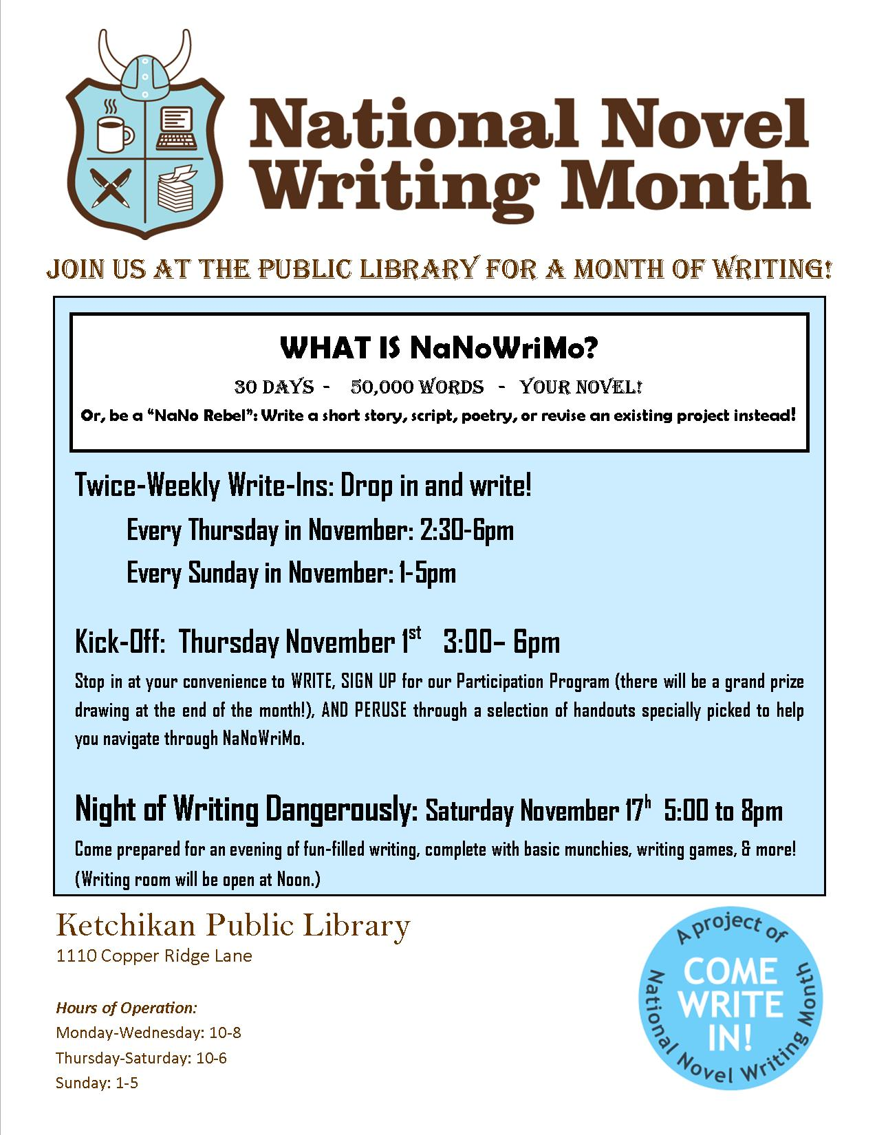 National Novel Writing Month (NaNoWriMo) at the Ketchikan Public Library!