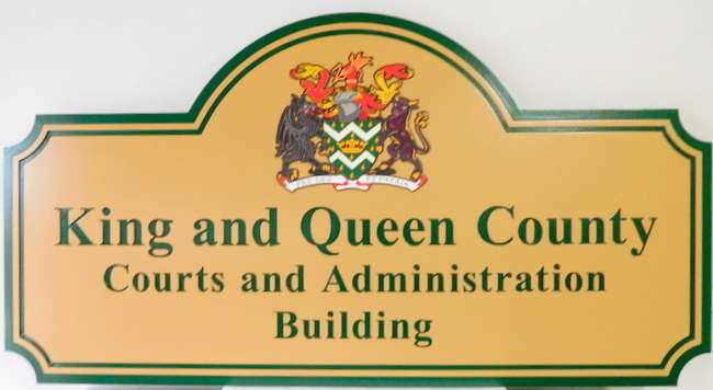 F15041 - Carved Sign for Kings and Queens County Courts sand Administration Building