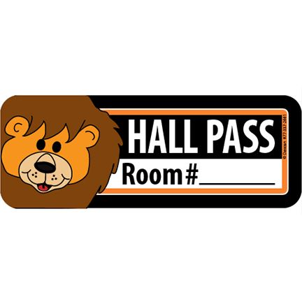 "Hall Pass 6"" x 2"" Rectangle"