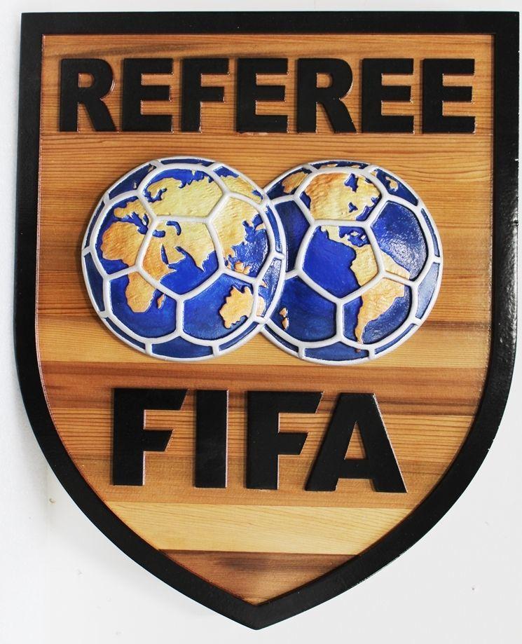 Z35505- Carved 2.5-D Multi-Level Cedar Wood Carving of the Emblem of a FIFA (Fédération Internationale de Football Association) Referee