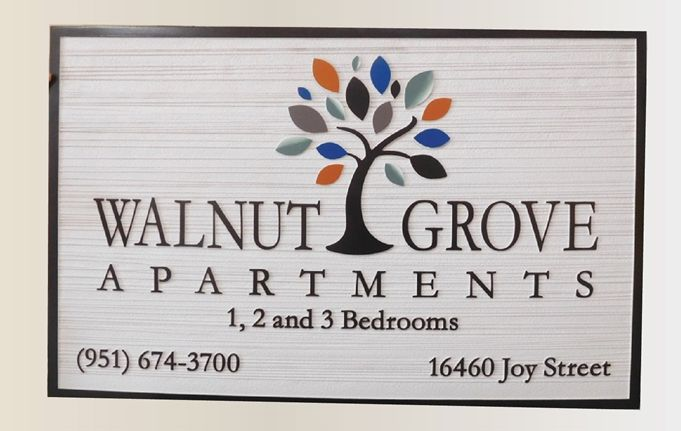 "K20301  - Carved HDU Sign,  for the ""Walnut Grove"" apartments""  with Wood Grain Sandblasted Background"