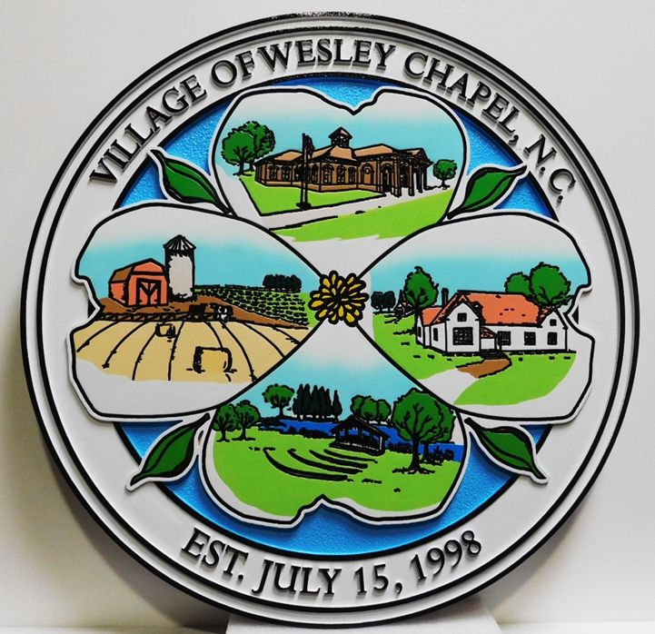 CB5255 - Seal of the the Village of Wesley Chapel, Raised and Engraved Relief