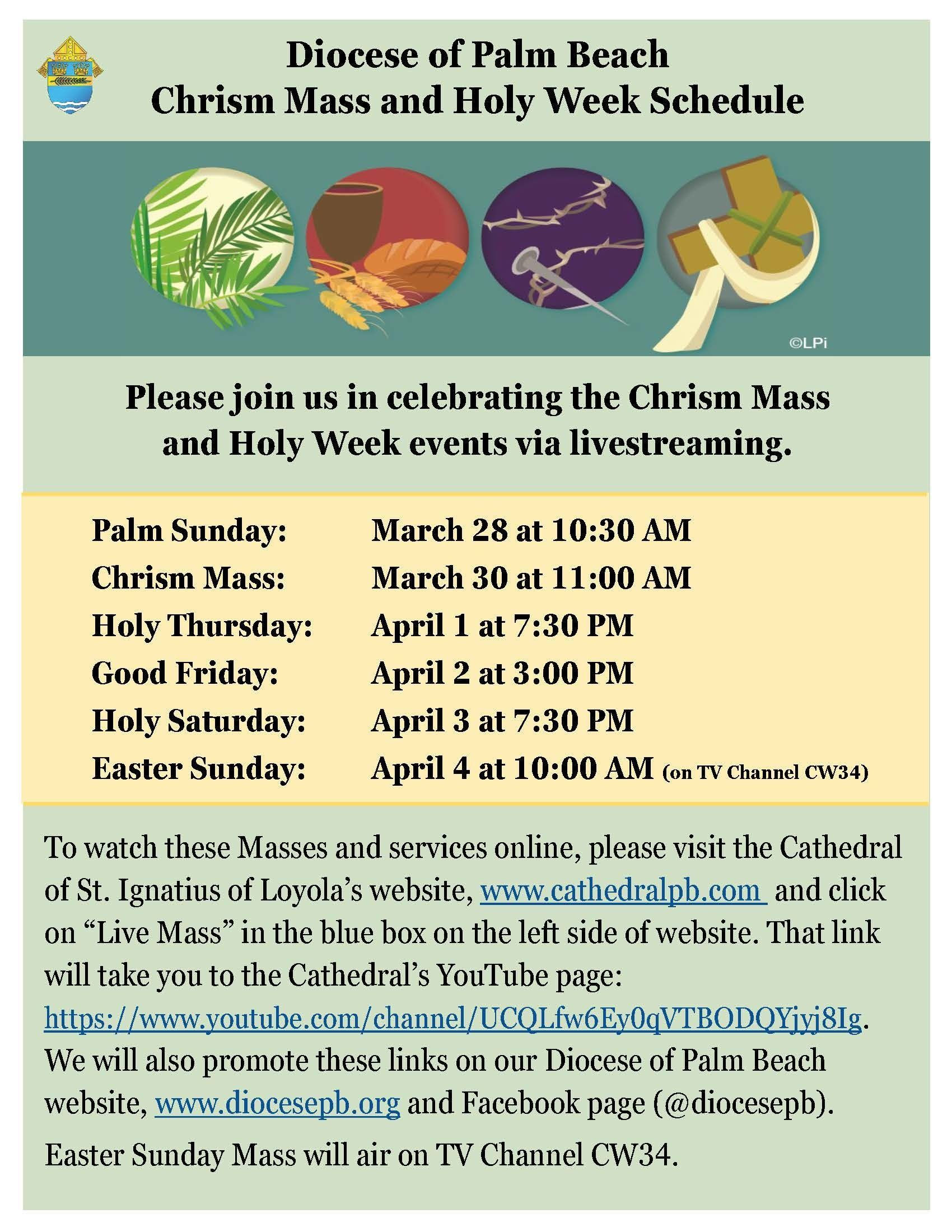 Holy Week live streamed and televised Masses and services
