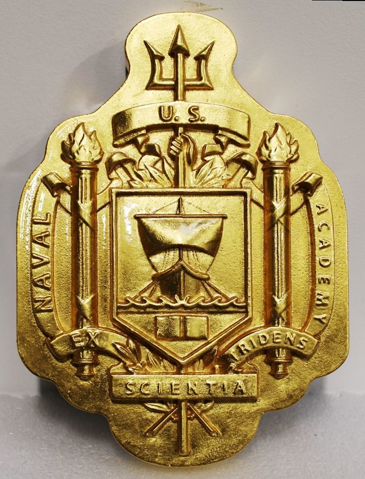 RP-2013 - Carved 3-D HDU Plaque of the Crest of the United States Naval Academy, Annapolis