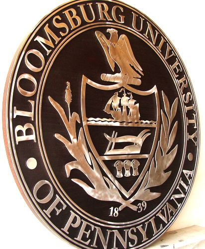 Y34316 - Aluminum and Wood  Wall Plaque of Bloomsburg University Great Seal (side view)