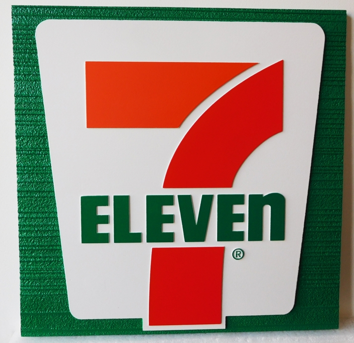 "Q25825 - Carved and Sandblasted Wood Grain Background HDU Sign for a ""7-11"" Store"