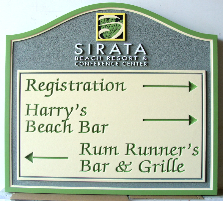 "RB27223 - Carved and Sandblasted Wayfinding Sign for Bars at Resort, ""Sirata Beach Resort"""