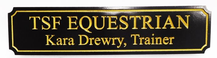 """P25143 - Engraved HDU """"TSF Equestrian- Trainer """" Sign"""