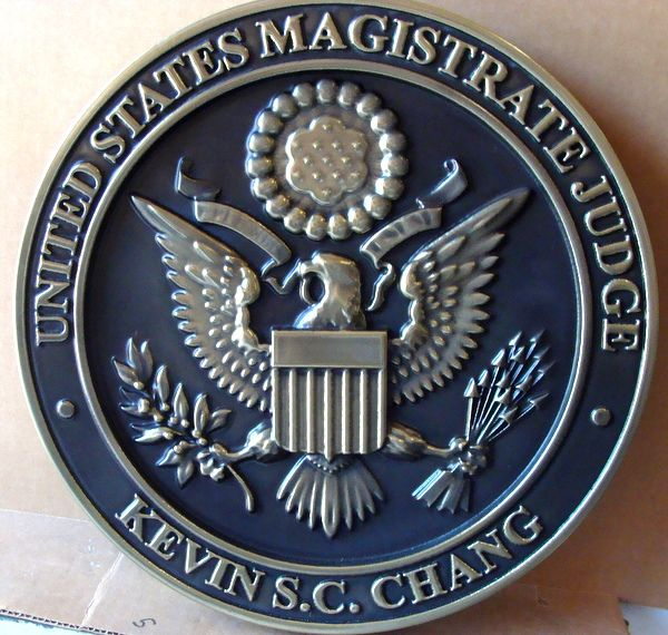 U30150  - Carved 3-D Silver-Nickel Wall Plaque , US Seal for Courtroom of US Magistrate Judge