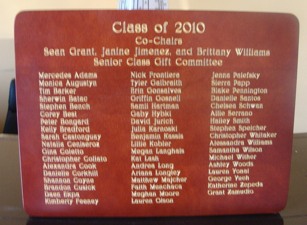 M3063 - Engraved Mahogany Plaque with Names of Graduates from a High School (Gallery 15A)