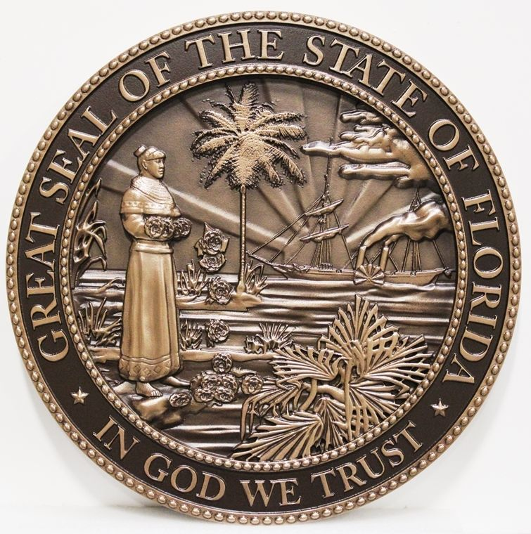 MA1007 - 3_D Bas-Relief Wall Plaque of the Great Seal of the State of Florida