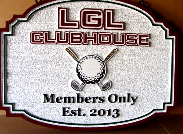 E14155 - Carved and Sandblasted Country Club Sign for LGL Clubhouse, with Crossed Clubs and Golf Ball Art