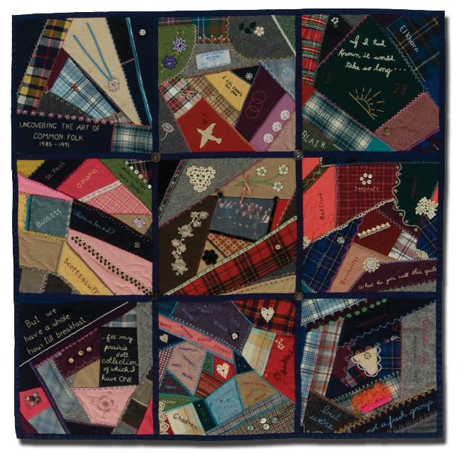Crazy Quilt, 'Uncovering the Art of Common Folk, 1985-1991,' made by Wednesday Girls, Nebraska Quilt Project Committee, made in Nebraska, United States, circa 1990-2000, 42 x 42 in, IQSCM 2008.030.0001