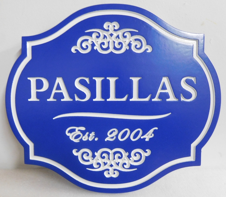 "I18134 -Property Name Sign, Engraved HDU, ""Pasillas"""