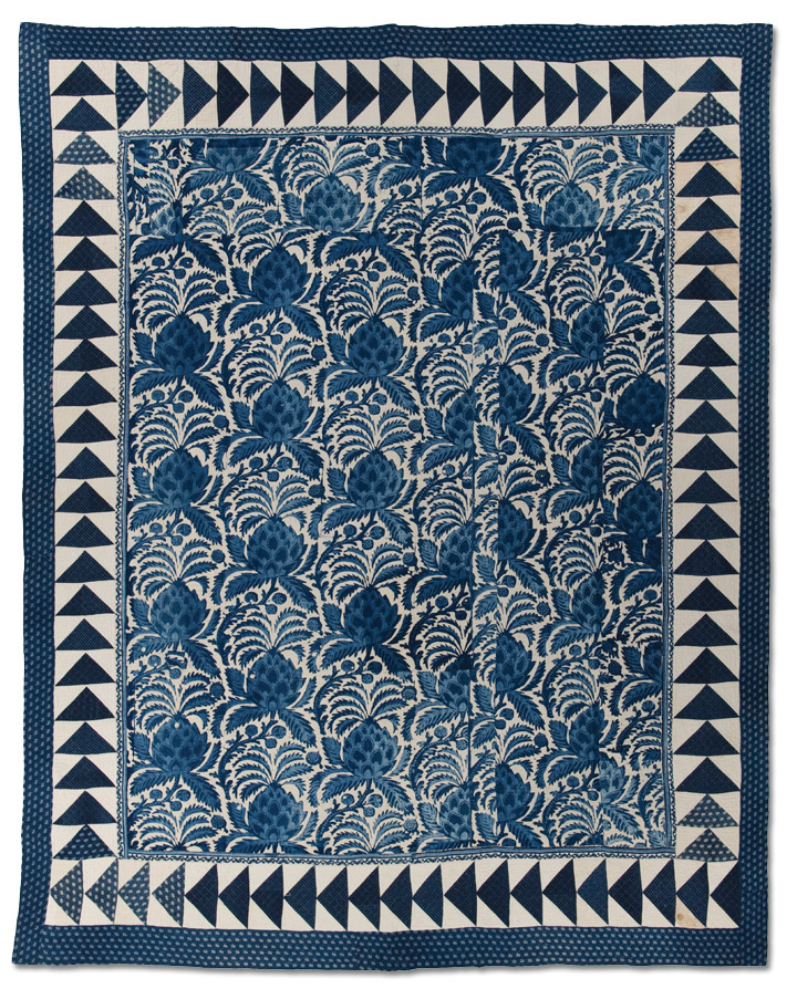 Whole Cloth with Flying Geese Border, Maker unknown, Circa 1820-1840, Possibly made in the Hudson River Valley, New York, 102 x 82 inches, IQSCM 2010.051.0001