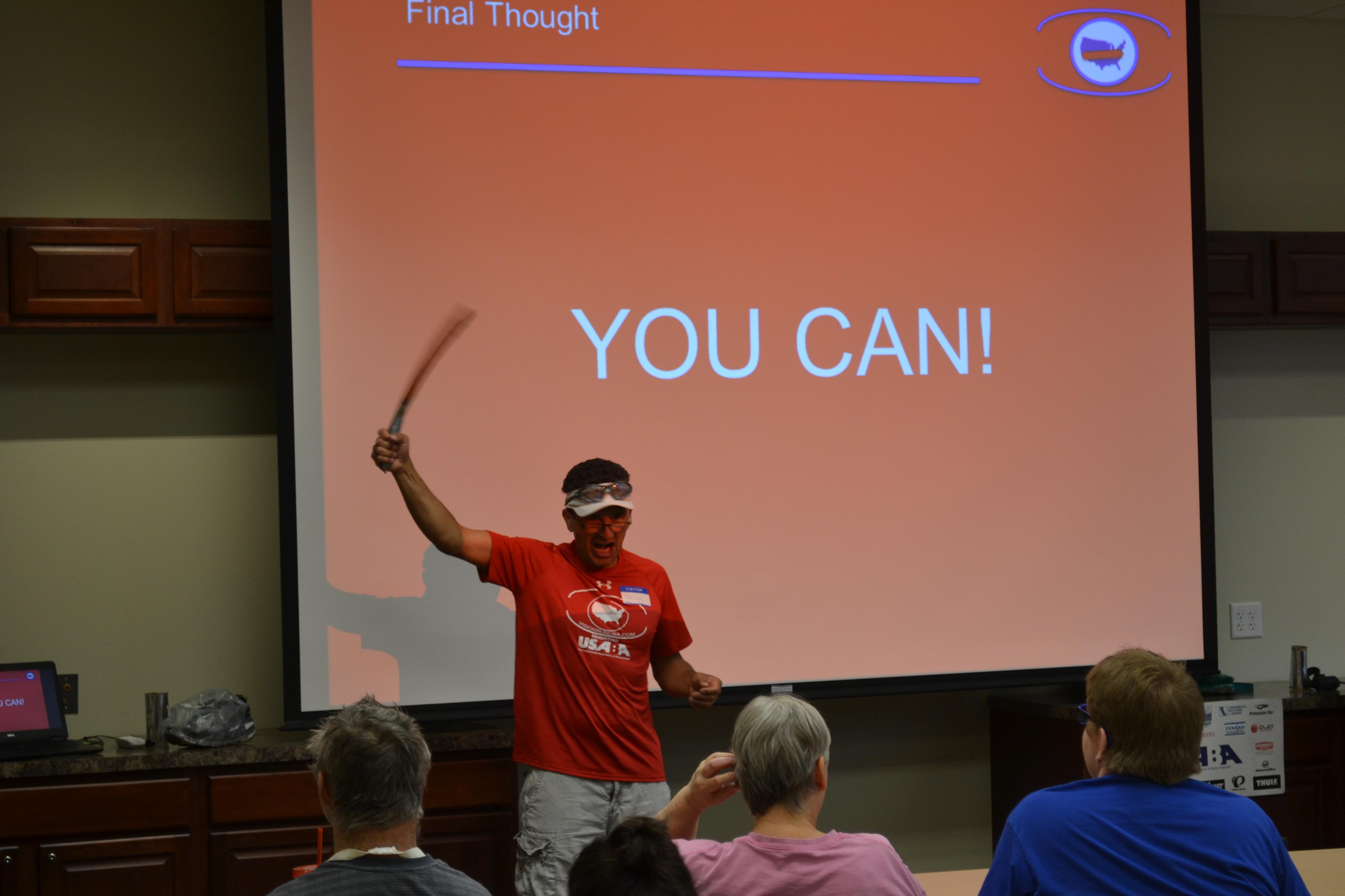 Ultrarunner Jason Romero speaks at Goodwill Headquarters