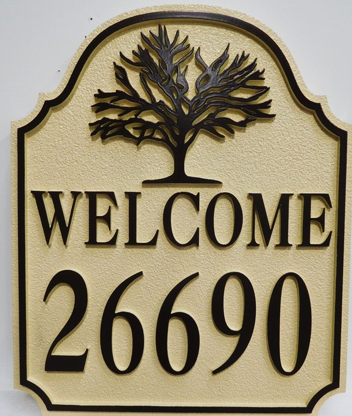 I18326 -  Carved and Sandblasted High-Density-Urethane (HDU)  Welcome and Address Sign for a Home, 2.5-D with Tree as Artwork