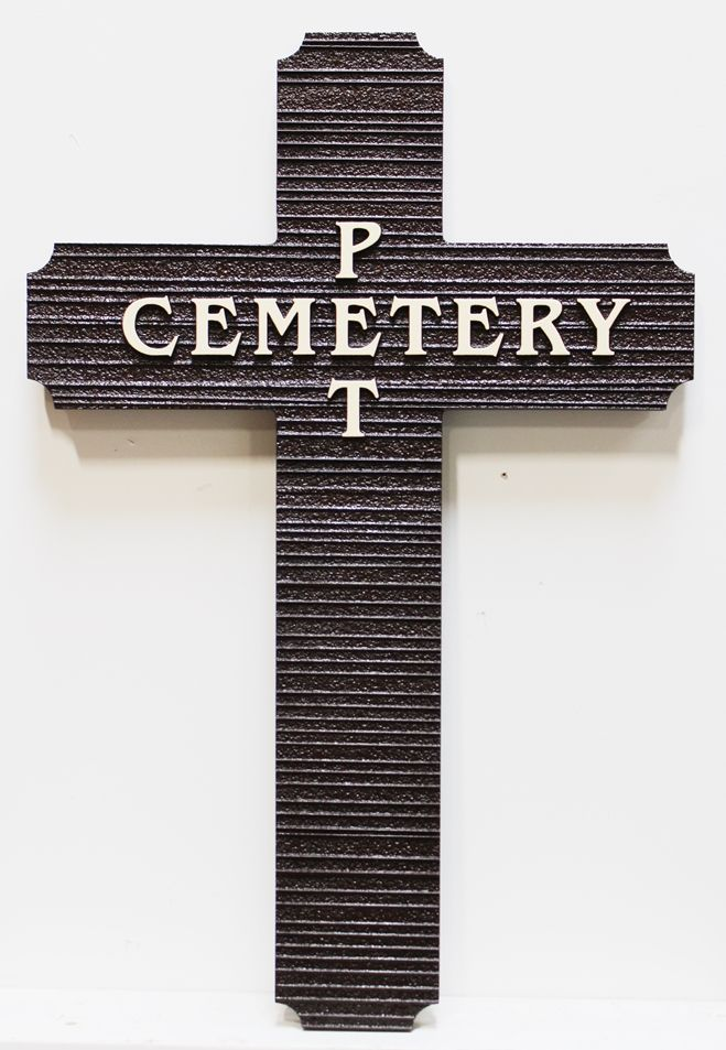 GC15697- Carved and Sandblasted Wood Grain Wall Plaque in Shape of a Cross for  a Pet Cemetery