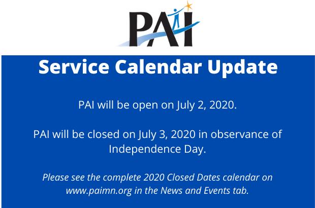 Service Calendar Update