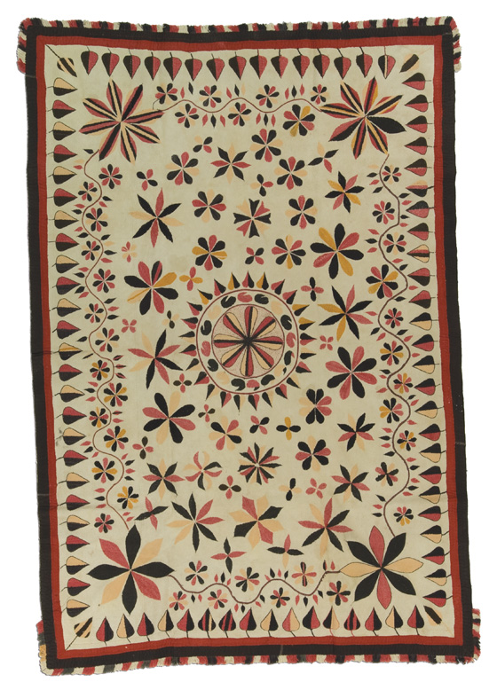 West Bengal Kantha, probably made in Murshidabad, West Bengal, India, circa 1830-1840, 76 x 51 in, IQSCM 2006.027.0001