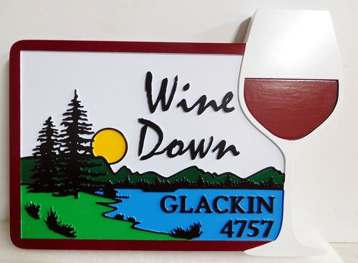 M22413 - Carved Lake House Sign, with Wine Glass and a Lake Scene as Artwork
