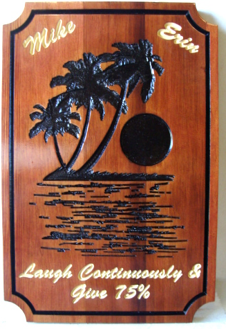 L21615 - Engraved Cedar Wood Plaque Wall for Seaside Home, with Palm Tree, Moon and Sea