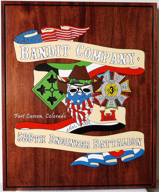 MP-2420 - Engraved  Plaque of the Insignia of the 588th Engineer Battalion, Bandit Company,  US Army,  Mahogany Wood
