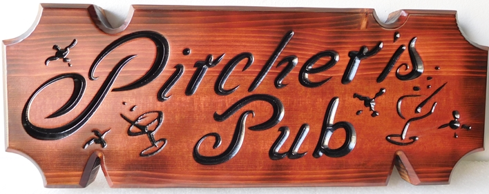 "RB27706  - Stained Cedar Engraved Home Bar Wall Plaque ""Pircher's Pub"""