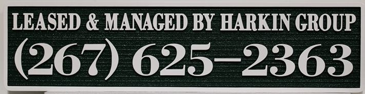 C12474 - Carved and Sandblasted  Property Management  Sign for the Harkin Group