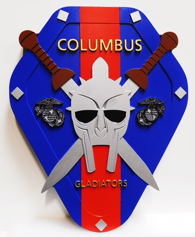 "KP-2130 - Carved Plaque of the Insignia of Insignia of the ""Columbus Gladiators"", a Unit of the US Marine Corps, 2.5-D Artist-Painted"