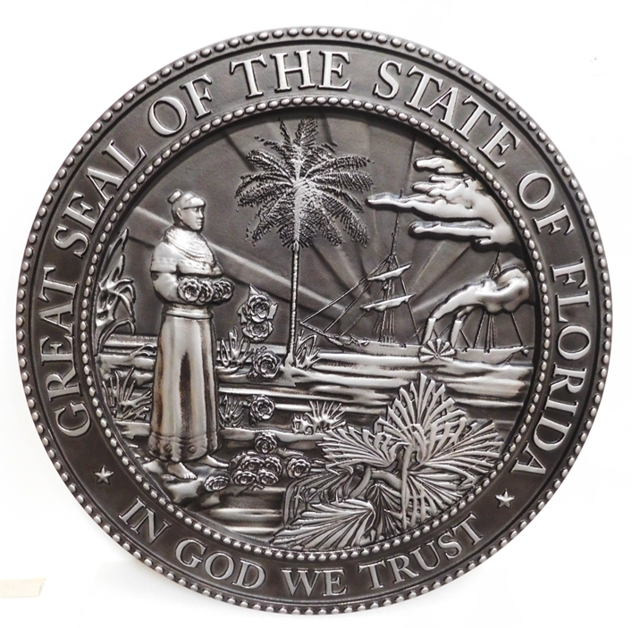 BP-1135- Carved Plaque of the Seal of the State of Florida, Aluminum-Plated