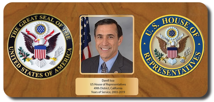 EA-1050 - Retirement Plaque for Congressman, with Photo and US  Seal of the House of Representives