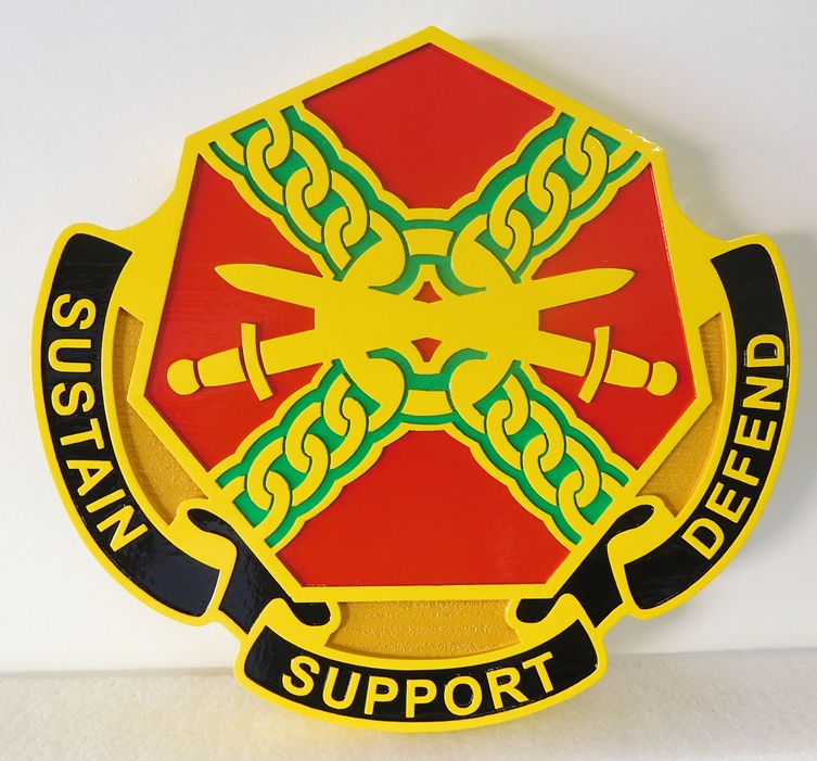 MP-2020 - Carved Plaque of the Insignia of a Unit of the US Army,  Artist Painted