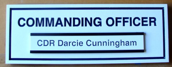 "V31392C - Title Plaque  for Office Door or Adjoining Wall, ""Commanding Officer"" with Engraved Changeable Nameplate."