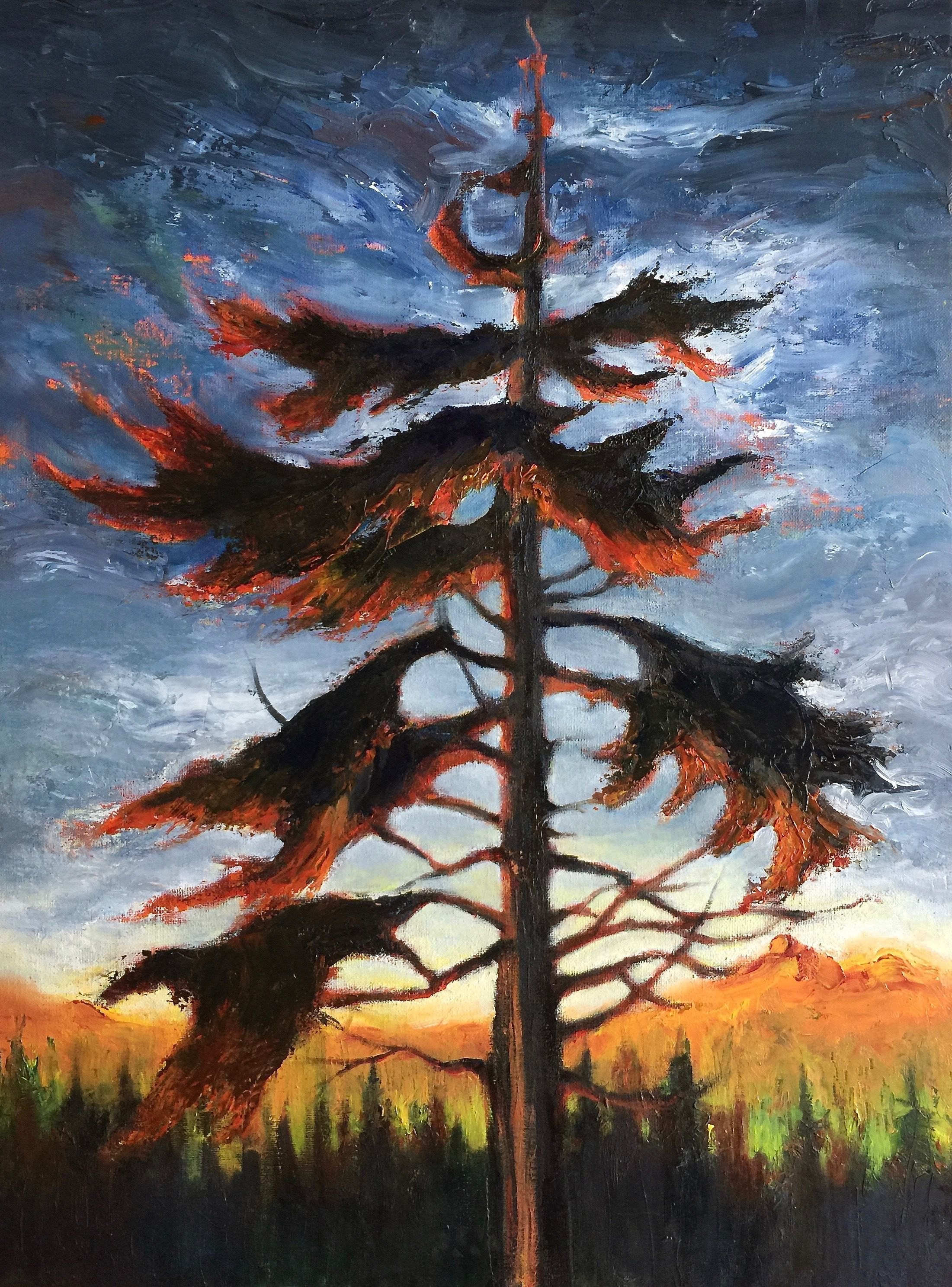 "Marilyn Lee - ""Western Hemlock, Muskeg by Point Higgins School I"""