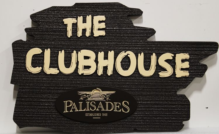 """KA20613 - Rustic Carved and Sandblasted Sign  for """"The Clubhouse"""" for the Palisades Resort"""