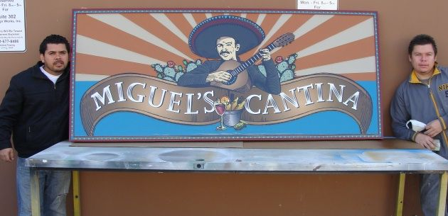 Q25035 - Large Mexican Cantina Restaurant Sign with 3D Carved Singer with Guitar (See Q25034)