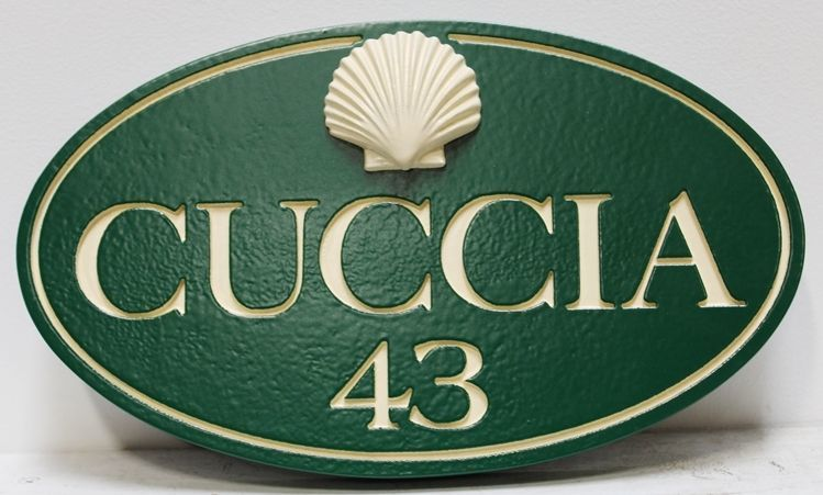 """L21531 - Carved and Sandblasted HDU Beach House name and Address Number Sign """"Cuccia"""", with Sea Shell as 3-D Artwork."""
